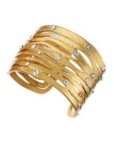 Y1LBE Kenneth Jay Lane Wavy Crystal Golden Cuff