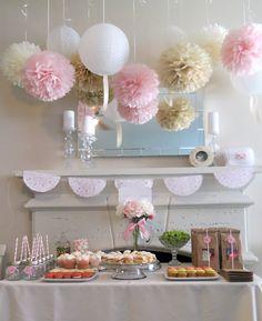 7 Pom Poms - Romantic Blush Paper Pom-Poms - More Colors Available - Wedding - Birthday - Nursery - Shower. $27.50, via Etsy.