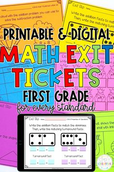 Check out these 1st grade Printable and Digital Math Exit Tickets for every standard for formative assessment today! These Math Exit Tickets are a great way to quickly and easily assess your first grade students in-person or for distance learning. Aligned to Common Core standards and available on Google Classroom or Seesaw. Perfect for whole group, independent work, test prep and MORE! Covers every standard from addition