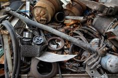 Buy Scrap metal, old car parts by elilena on PhotoDune. Scrap metal, old car parts in a garage,close up Junk Removal Service, Removal Services, Metal For Sale, Old Car Parts, Scrap Material, Office Items, Old Cars, Radiators, Metals