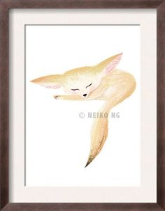 Sleeping Little Baby Fennec Fox by PaperPlants on Etsy