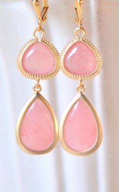 Coral Pink Bridesmaids Earrings in Gold Drop