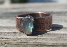 Rose Cut Labradorite Electroformed Copper Ring with Wide Band; unique, high…