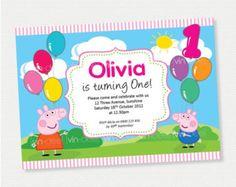 Peppa Pig Balloons Birthday Invitation - DIY Printables