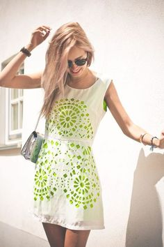 Green & White dress