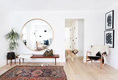 Home+Tour:+A+Hip+Couple's+Fresh+California+Bungalow+via+ // Amber interiors // Round Brass Mirror, Circular Mirror, Round Mirrors, Target Round Mirror, Home Interior, Interior Decorating, Decorating Hacks, Foyer Decorating, Bathroom Interior