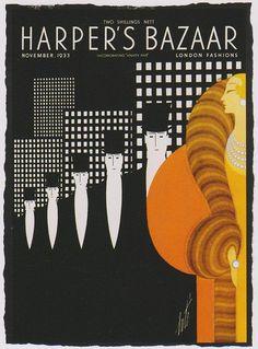 Erte - Harper's Bazaar Herbert Bayer, Josef Albers, Vintage Prints, Vintage Posters, Vintage Ads, Fashion Magazine Cover, Magazine Covers, Harper's Bazaar, Magazine Illustration