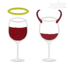 Devil and Angel Wine Embroidery Design