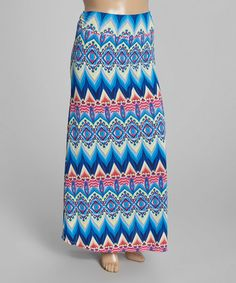 Look what I found on #zulily! Blue Arabesque Fold-Over Maxi Skirt - Plus #zulilyfinds