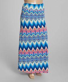 Look what I found on #zulily! Blue Arabesque Fold-Over Maxi Skirt - Plus #zulilyfinds