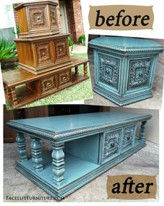 For her custom order, Kara selected these super chunky hexagon and coffee tables we had available for custom refinishing. Her choice of color was Sea Blue with heavy black glaze. These pieces were transformed and came to life with a whole new look! Related