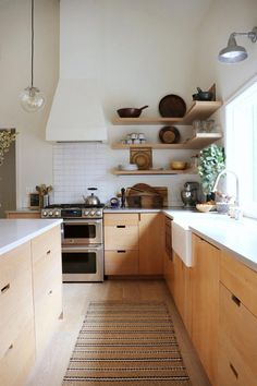 9 Kitchen Trends for 2019 We're Betting Will Be Huge - Emily Henderson,Natural wood kitchen cabinets Raise Your Room With New Kitchen Decoration Your kitchen might be a practical room in your house, but that doesn't mean . Home Decor Kitchen, Kitchen Interior, New Kitchen, Home Kitchens, Kitchen Rug, Kitchen Ideas, Kitchen Wood, Minimal Kitchen, Kitchen Sinks