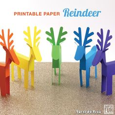 Printable paper reindeer craft for kids. Here is a template to create your own cute reindeer from paper. Make them as decorations or for play! Arts And Crafts For Teens, Christmas Crafts For Kids To Make, Crafts For Seniors, Diy Projects For Kids, Paper Crafts For Kids, Christmas Activities, Paper Crafting, Holiday Crafts, Christmas Ideas