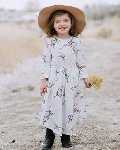 4907a6d5da6 Mandy 3/4 sleeve scoop dress - white floral. Tween FashionGirl FashionKid  ...