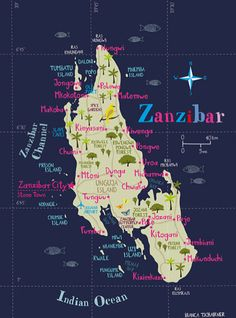 #Map of #Zanzibar by Bianca Tschaikner via CreativeRoots, #illustration