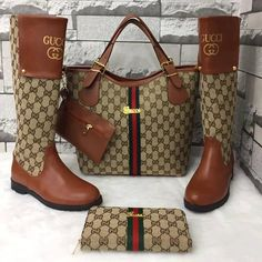 Gucci purse boots and wallet Cute Shoes, Women's Shoes, Me Too Shoes, Gucci Purses, Gucci Handbags, Designer Handbags, Designer Purses, Bootie Boots, Shoe Boots