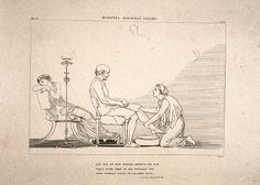 Eurykleia discovers Odysseus  Engraving and etching on paper  John Flaxman  1805  Tate Gallery
