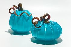 Turquoise+Pumpkins by Michael+Trimpol+and+Monique+LaJeunesse: Art+Glass+Sculpture available at www.artfulhome.com