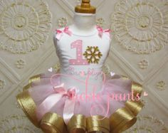 Winter ONEderland Tutu Outfit Baby girls 1st by TicklePants