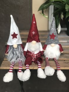 Plush Christmas Gnome Set – Farm Charm Decor Set of 3 cute plush Christmas gnomes with dangling legs. This is perfect for tier tray decor or any other place in your home to add some whimsical holiday cheer. IN STOCK Christmas Centerpieces, Diy Christmas Ornaments, Holiday Crafts, Christmas Holidays, Christmas Decorations, Holiday Decor, Christmas Planters, Outdoor Christmas, Christmas Scarf