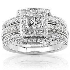 14k White Gold 1 1/2ct TDW Diamond Princess Halo Bridal Ring Set (H-I, I1-I2)  Overall Rating Rating  Sale $1,869.99