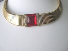 Vintage Collar Necklace Faceted Red / Clear Rhinestone Center Gold Plated  #Unbranded #Collar