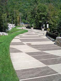 Paving Pattern using pavers via Whitacre Greer Landscape Elements, Landscape Materials, Contemporary Landscape, Urban Landscape, Landscape Architecture, Landscape Design, Garden Design, Landscaping Tips, Garden Landscaping