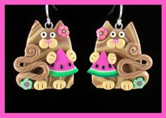 Tan Tabby Kitty Cats and Watermelon Slice Earrings