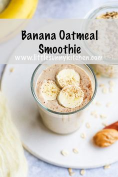 This banana oatmeal smoothie makes a nutritious breakfast that will keep you full for longer. Its thick rich smoothie and delicious! Apple Smoothies, Vegan Smoothies, Green Smoothie Recipes, Green Smoothies, Nutritious Breakfast, Healthy Breakfast Smoothies, Paleo Breakfast, Breakfast Juice, Breakfast Bowls
