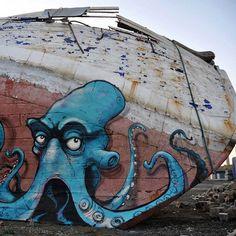 Octopus by Gouge, Sweden 2014. - - - - - - - - - - - - - - - - - - - - - - - - - - - - - - - - - #streetart #graffiti #gauge #octopus #urbanart #welovestreetart #streetartfiles
