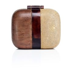 Two Tone Box Clutch ❤ liked on Polyvore featuring bags, handbags, clutches, box clutch, brown handbags, hard clutch, brown purse and two tone purse