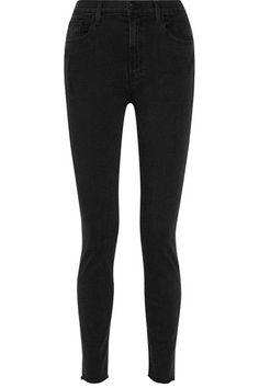 J Brand - Carolina Distressed High-rise Skinny Jeans - Black - 27