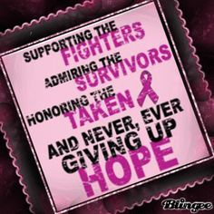 Supporting the fighters, admiring the survivors, honoring the taken, and never, ever giving up hope.