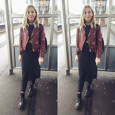 Get this look: http://lb.nu/look/8628615  More looks by Natasha B: http://lb.nu/natashaleanne  Items in this look:  Zara Red Faux Leather Jacket, Dr Martens Doc Martens Boots, H&M Longlength Grey Top, H&M Faux Leather Black Joggers   #edgy #minimal #street