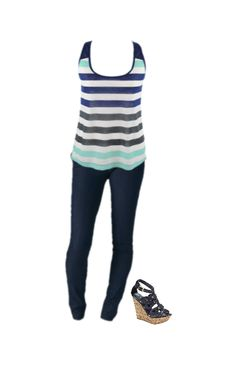 Super cute striped tank with tulip back paired with our trouser jeans and wedge heels. Get the look at www.luxquisite.ca
