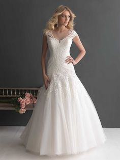 Elegant A-line Cap Sleeves Bateau Neckline Wedding Dress with Deep V-back