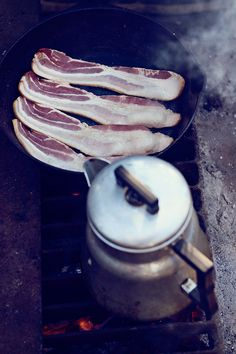 Bacon & coffee, two of life's greatest things.  Even better when cooked over an open fire out of doors.