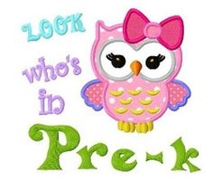 Pre-K Owl Applique - 3 Size!   What's New   Machine Embroidery Designs   SWAKembroidery.com Dollar Applique