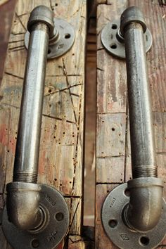 For the sliding barn door. Industrial Door Handles Black Pipe Door pulls by Hano. - For the sliding barn door. Industrial Door Handles Black Pipe Door pulls by HanorManor - Regal Industrial, Industrial Door, Industrial Furniture, Industrial Style, Industrial Wallpaper, Industrial Closet, Industrial Apartment, Industrial Living, Industrial Bathroom