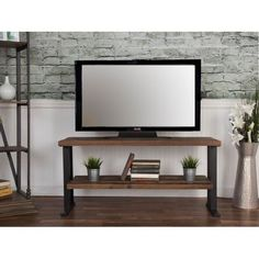 Incroyable 50 Inch Rustic Industrial Natural Wood TV Stand   Brixto