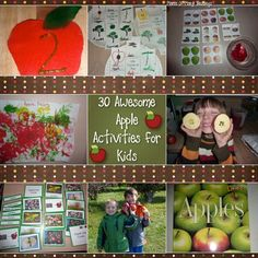 A big list of over 30 different apple activities for kids. Including free printable, art activities, learning ideas, Montessori trays, tot trays, and much much more!!