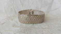 """Vintage Sterling Silver Wide Mesh Link  Bracelet w Safety 37.6 grams 7.25"""""""
