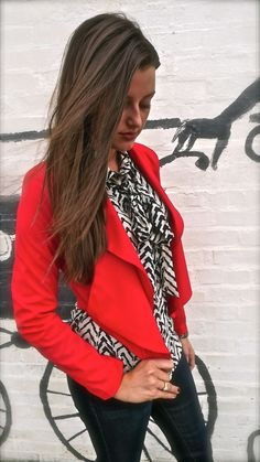Bright red drape front jacket with a black and white zigzag blouse! If you like my pins, please follow me and subscribe to my new fashion channel! Let me help u find all the things that u love from Pinterest! https://www.youtube.com/watch?v=XSiQP5OFjXE&list=UUCP8TXebOqQ_n_ouQfAfuXw