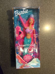 2002 Mermaid Fantasy - Pink Barbie - Green Tail - Mirror, Comb - MIB MOC NEW in Box #Dolls