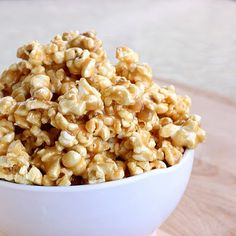 Peanut butter popcorn!  Just made it with air-popped popcorn and I'm planning to use kettle corn next round! #PeanutButter #popcorn