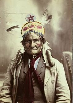 Apache Chief Geronimo. Native American Indian. Photo taken in 1903.