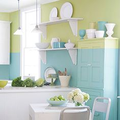 PAINT IDEAS: TWO-TONE TREATMENT Elevate your walls with a dramatic colorblocked look, from the September 2015 issue of This Old House. Stylist Matthew Mead recalls liking the way one color went. Diy Kitchen, Kitchen Decor, Kitchen Mats, Kitchen Shelves, Kitchen Ideas, Wall Paint Treatments, Interior Decorating, Interior Design, Kitchen Colors