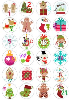 Christmas Advent Calendario freebie printable / etiquetas para Calendario de adviento imprimibles