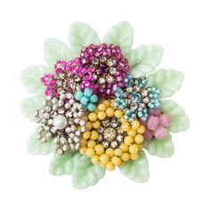 Miriam Haskell Round Floral Bouquet Brooch   From a unique collection of vintage brooches at https://www.1stdibs.com/jewelry/brooches/brooches/