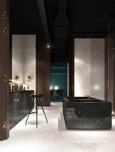Apartment in Ekaterinburg, Bathroom and bedroom on Behance